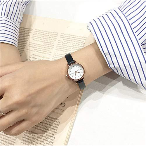FDIJM Einfache Kleine Zifferblatt Frauen Weiße Uhr Weibliche Uhr Retro-Uhren Vintage Leder Damen Armbanduhren, Schwarz