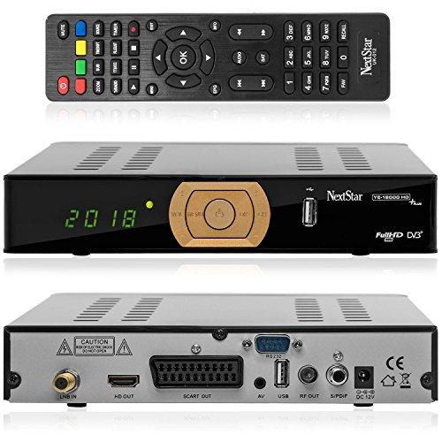NEXT YE-18000 HDTV PLUS digitaler Satelliten-Receiver inkl. HDMI Kabel (HDTV, DVB-S2, HDMI, SCART, USB 2.0, S/PDIF, Full HD 1080p) [vorprogrammiert ASTRA, HOTBIRD, TÜRKSAT] - schwarz