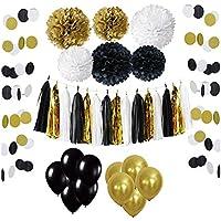 33 Pièces Parti Décoration Kit, Wartoon Ballons de Fête en Latex et Papier Tissu Pom Poms, Paquets Tassel Pompons, Polka Dot Paper Guirlande, Or Blanc Noir