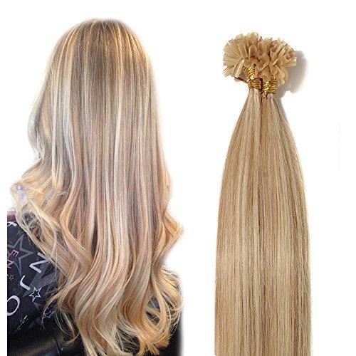 40-55cm extension capelli veri cheratina, 100 ciocche 50cm-50g, #18/#613 beige sabbia biondo+ biondo 100% remy capelli naturali u-tip allungamento