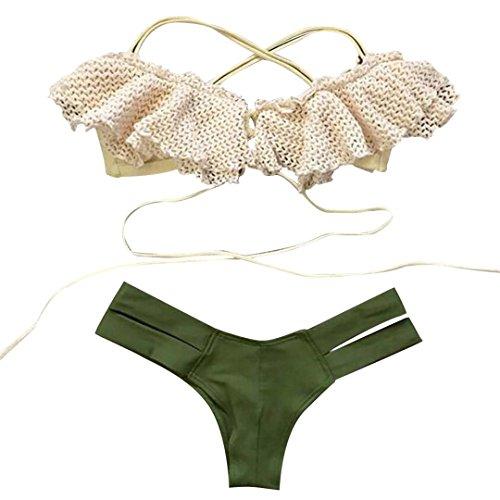 Bikini Donne Italily Donne della stampa Bandage Perizoma costume da bagno (L, Verde)