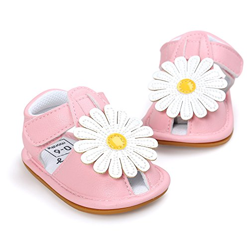Gestickte Sonnenblumen Gummi Hart Sandalen 0~12 Month kingko Rosa