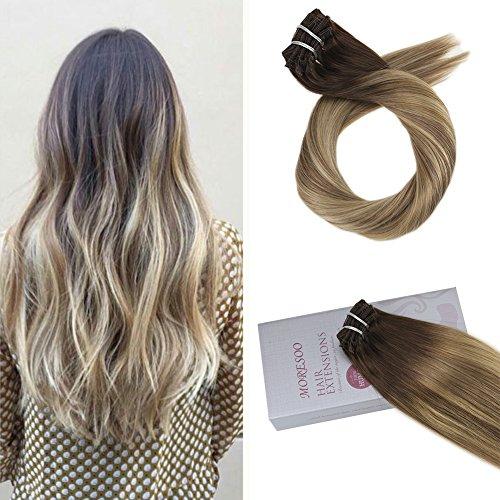 Moresoo 20 Zoll/50cm Balayage Clip In Hair Extensions Echthaar 7 Tressen Haarfarbe #3 Brown Fading to #8 Hellbraun and #22 Blond Hochwertige Glatt Remy Echthaar Haarverlängerung 120Gramm