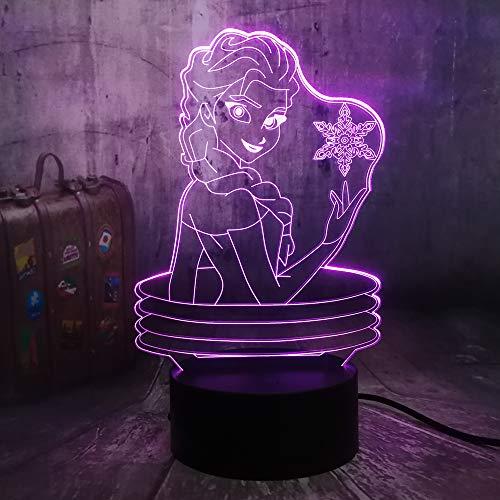 �r Kinder 3d Illusion Nachtlicht / 7 Farbe Licht Für Mädchen Weihnachten/halloween Geburtstagsgeschenk/Königin Elsa ()