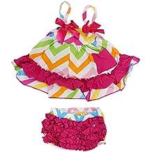 TOOGOO(R)2piezas conjuntos de ropa de Nina bebe Pantalones bombachos de volante + camisetas coloridas lindas con ropa del algodon de ninito de volante floral S