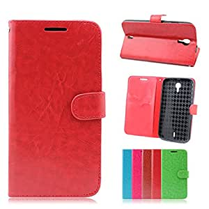 For BLU STUDIO 6.0 HD D650a / D650i PREMIUM Flip Wallet Folio Leather Case Cover STAND (Red)