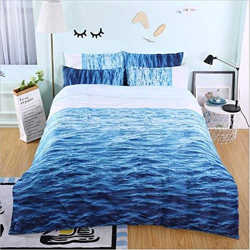 SHJIA Ozean Scenic Bettwäsche Set Quilt Mit Kissen Bettbezug Sets Königin König Größe A 200x229cm -