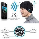 Bluetooth Beanie Mütze, ZHIKE Wiederaufladbare Unisex Wireless Kopfhörer Mütze, Hut Bluetooth Kopfhörer, Bluetooth Winter Hat Stereo Lautsprecher Geschenke für Männer (Schwarz)