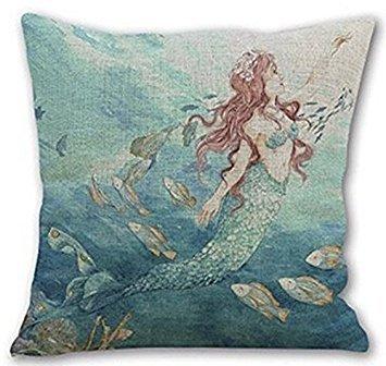 Beautiful Watercolor Mermaid Baumwolle Leinen dekorativer Überwurf-Kissenbezug Quadratisch 45,7x 45,7cm, COMIN16JU044096