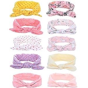 CASSIECA 10 Stück Baby Stirnbänder Verknotete Turban Mädchen Baumwolle Haarband Knot Neugeborenen Säugling Kleinkind Stirnband Kaninchenohren Babygeschenke (Super Weich)