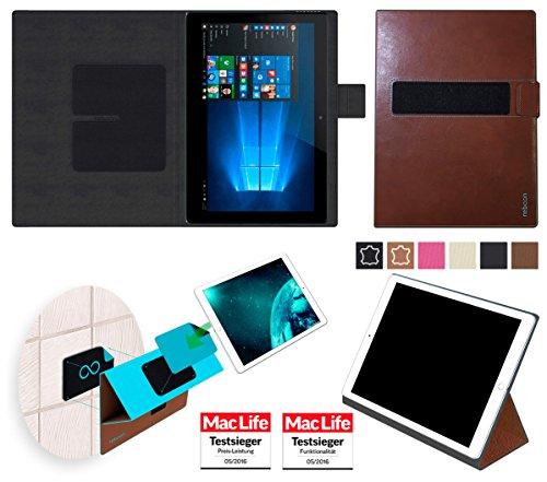 reboon Hülle für Allview WI10N Pro Tasche Cover Case Bumper | in Braun Leder | Testsieger