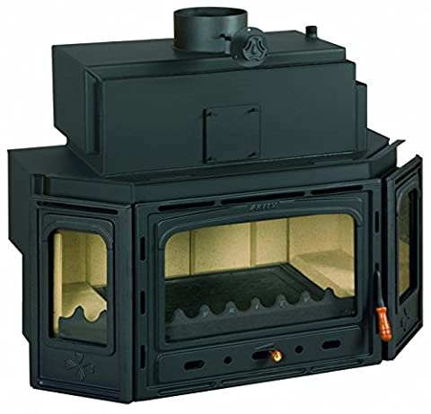 Wood burning fireplace insert Prity, Model TC W35, Heat output 40kW, Boiler, Cast iron door, Panoramic