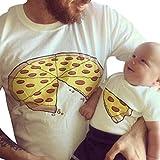Rera 1PC Papa und Sohn Sommer Lustig Kurzarmshirt Rundhals T-Shirt Casual Tee Sport Tops Sweatshirt mit Pizza Aufdruck