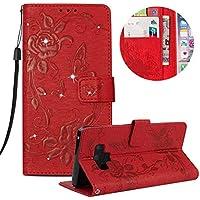 Kristall Lederhülle für Galaxy Note 9,Gurt Glitzer Handyhülle für Galaxy Note 9,Moiky Stilvoll Jahrgang Rot Schmetterling Blumen Gemalte Diamant Stoßdämpfende mit Stand Etui Schutzhülle