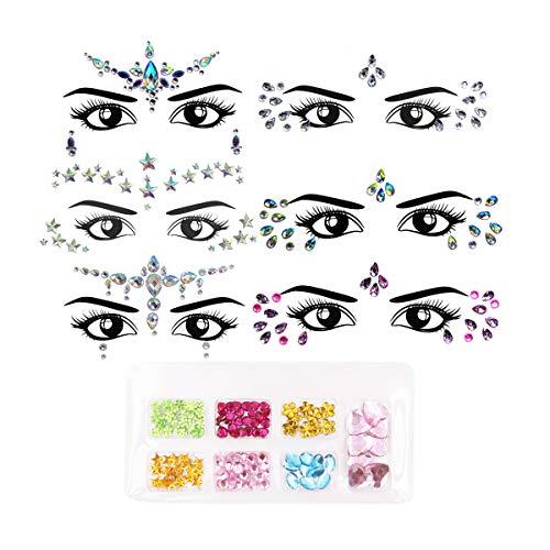 6 Gesicht Edelsteine Face Gems Kristall Sticker