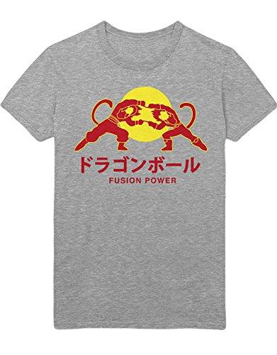 T-Shirt Vegeta Son Goku Fusion Power Logo Dragon Z GT Super Trunks Gohan C980009 Grau ()