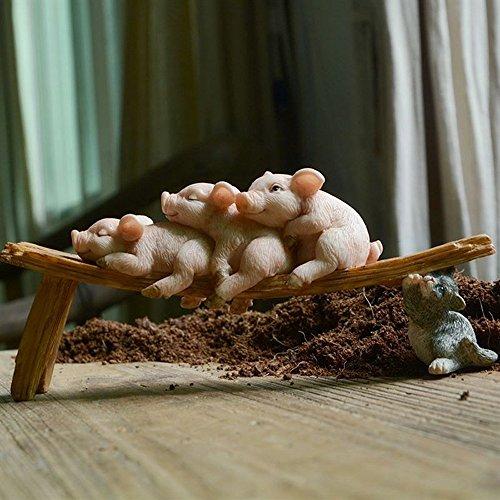 Neilyn Dekoration Schwein Figuren Miniaturen Micro Resin Handwerk Dekoration Zubehör Nettes Schwein Kleine Ornament Spielzeug Geschenk für Kinder (Color : TY014) (Figur Miniatur-schwein)