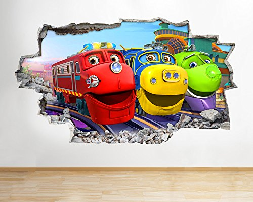 Image of H026 Chuggington Trains Kids Smash Wall Decal Poster 3D Art Stickers Vinyl Room(Medium (52x30cm))