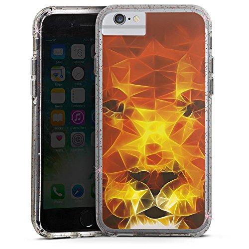Apple iPhone 6s Bumper Hülle Bumper Case Glitzer Hülle Burning Lion Lion Feuer Bumper Case Glitzer rose gold