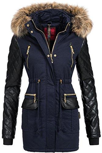 Navahoo sara cappotto trapuntato da donna, invernale, con grande cappuccio con pelliccia ecologica blu navy l