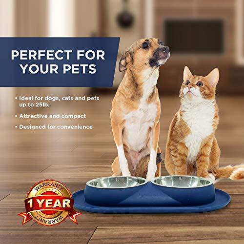 Bonza Doppel Hundenapf Hundefutterstation, Edelstahl-Wasser-und Futternäpfe mit Spill und rutschfeste Silikon-Basis. Premium Quality Feeder Lösung für kleine Hunde und Katzen (Marineblau) - 5