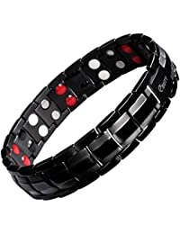 Ebuty Titanium Magnetic Therapy Bracelet Double Row 4 Element Black Pain Relief for Arthritis and Carpal Tunnel