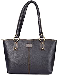 Wenz Women's Genuine Leather Handbag (Black, SK005)