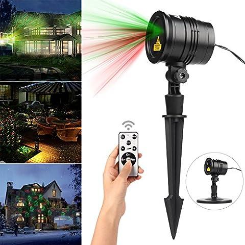 Salcar - LED Licht projektor Wasserdicht 5V mit Timer-Funktion und 4 Objektträgern für Weihnachten, Geburtstag, Hochzeits, Party im Freien oder Drinnen Rot-Grün