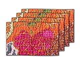 meSleep Orange Kantha Table Mats