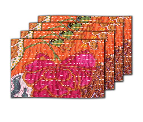 meSleep Kantha Abstract PVC 4 Piece Table Mat Set - Orange