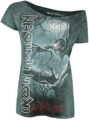 Iron Maiden Fear Of The Dark Vintage Camiseta Mujer Gris M