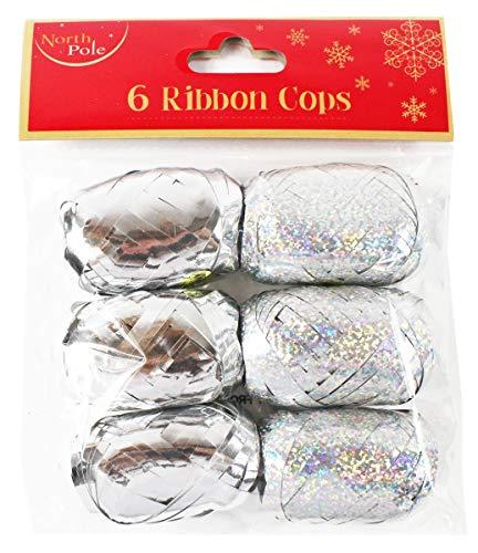 6Silber Weihnachten Schleifenband Cops Metallic holografisch 10m Presents Geschenkpapier ()