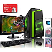 ADMI GAMING PC PACKAGE with Monitor, Keyboard & Mouse: AMD A8-7650K 3.8GHz Dual Core, Radeon R7 Integrated Graphics, 1TB Hard, 8GB RAM, Wifi, F3 Gaming Case, Windows 10