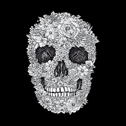 Apple iPhone 4 Housse Étui Silicone Coque Protection Tête de mort Crâne Fleurs Sideflip Sac