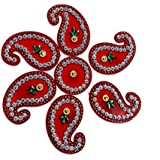 SBD Readymade Elegantly Designed Red Rangoli - With Round Shaped Base And Keri Shape Design Decorated With Multicolored Stones - 7 Pieces