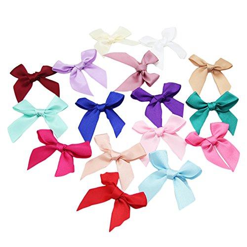 50X Toruiwa Mini Bowknot Klein Satin Band Schleife für Hochzeit Deko Karten DIY Basteln Haar bogen Hut Handwerk Zufällige Farbe (Satin-band-hut)