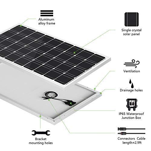 ECO-WORTHY 100W 12 Volt Solarmodul Polykristallin Solarpanel Photovoltaik Solarzelle Ideal zum Aufladen von 12V Batterien - 9