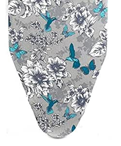 Homespace Grey Flower Design Iron Board Cover with Extra Thick Foam and Felt Padding(Length 126-127cm X Width 45-46cm)