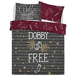 Juego de funda de edredón reversible de Harry Potter Dobby The Elf, diseño de rayas, color gris Doublé