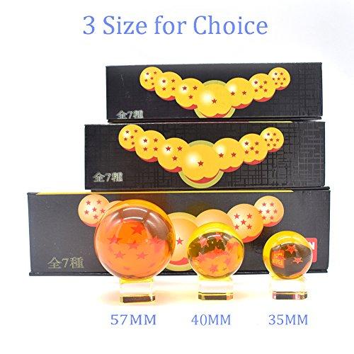 CYRAN Dragon Ball Z Crystal Ball Crystal Ball 7pcs con 7 Asientos de Cristal 57MM 7 Estrellas Juguetes para Niños 7 Estrellas Dragon Ball