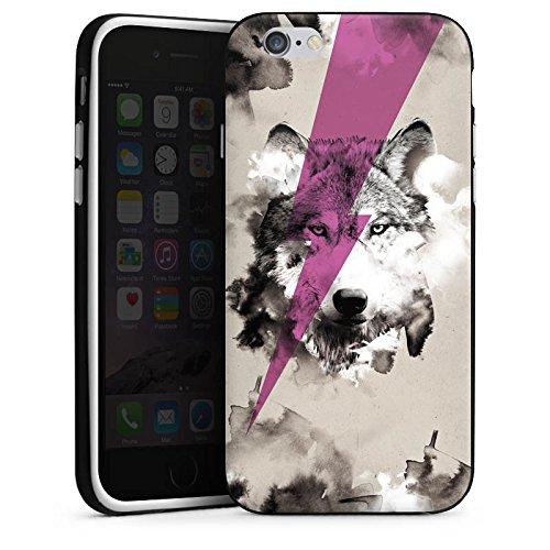 Apple iPhone 4 Housse Étui Silicone Coque Protection Hipster Loup Éclair Housse en silicone noir / blanc