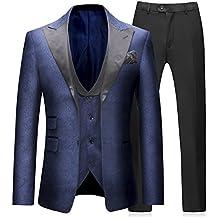 Costume Homme 3 Pièces Marine Élégant Formel Slim Fit Tuxedo de Mariage Bal  Notched Lapel Simple 5e81c52074b