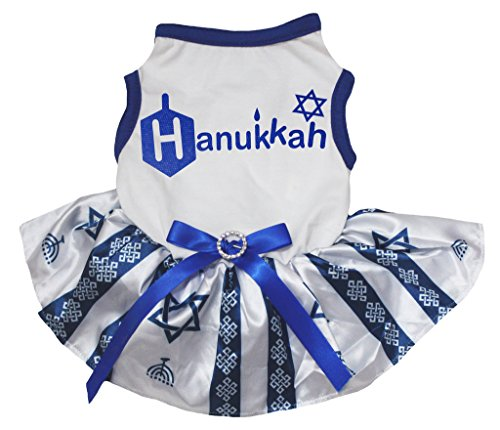 Petitebelle Dog Dress Hanukkah White Shirt Hexagram Blue Stripes Tutu (Kostüme Chanukka)