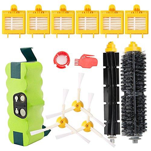 Nuovo aggiornamento batteria ni-mh 3800mah di ricambio per irobot roomba + brush kit per irobot roomba serie 700 - di horleora