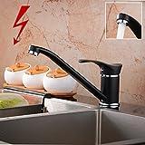 Niederdruck Spültisch Armatur Wasserhahn Einhebelmischer Mischbatterie Küche in Schwarz (Niederdruck)