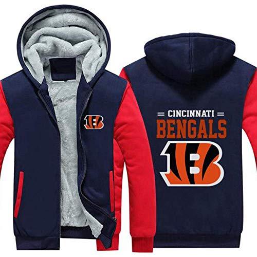 Männer Kapuzenpullover-Cincinnati Bengals verdicken Fleece Jersey Warme Pullover Herbst Trainings Sweathirt, S-5XL,Rugby Trikot