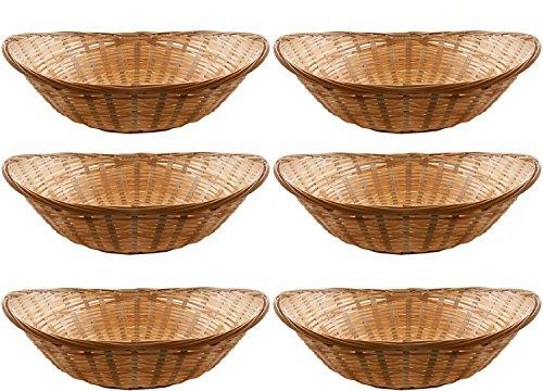 Vintage ovalada mimbre bambú Natural pan cesta almacenamiento
