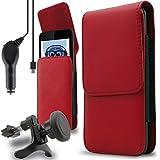 iTALKonline Vodafone Smart N8 2017 Rot Premium PU Leder vertikale Führungsseite Beutelkastenabdeckung Holster mit Gürtelschlaufe und Clip Magnetverschluss und 1000 mAh in Auto-Ladegerät LED Anzeige und Überlastschutz aufgerollt