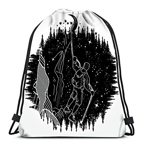 Kkyoxdiy Drawstring Backpack Bags Mountain Climber Silhouette Tattoo Art Sports Travel Yoga Gymsack