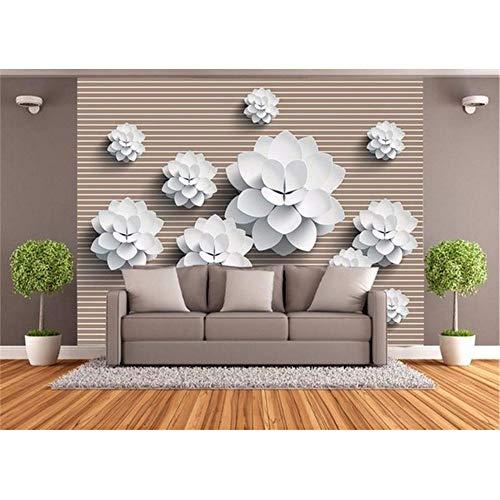 enspezifisches Foto Wandbild Vlies Vektor Weiße Blumen Tv Hintergrund Wandbild Wohnzimmer Tapete Für Wände 3D-350X250Cm ()